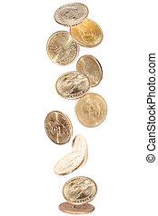 dollar, muntjes, amerikaan, het vallen