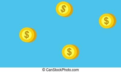 dollar, muntjes, geld, het vallen