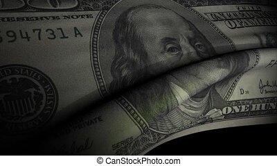 Dollar bank note waving flag animation.