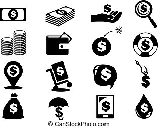 Dollar Notes and Coins Money Icon Set