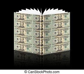 dollar, notes, couverture livre, nous