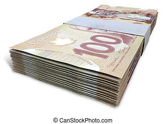 dollar, notes, paquets, canadien