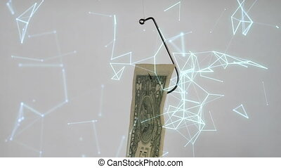 Dollar On A Fishing Hook On matrix Background