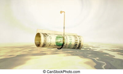 Dollar On A Fishing Hook reflecting in water