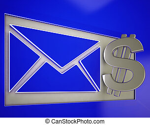 Dollar On Envelope Showing Money Delivery Or American Post