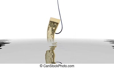 Dollar on fish hook reflecting in water