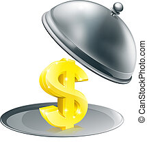 Dollar on silver platter concept - A Dollar sign on silver...