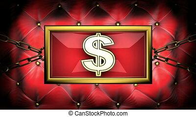 dollar on velvet background