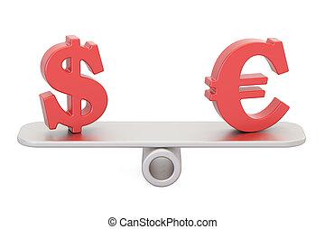 Dollar or Euro, balance concept. 3D rendering