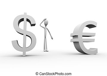 Dollar or Euro? - 3D rendered Illustration. Isolated on...