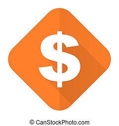 dollar orange flat icon us dollar sign