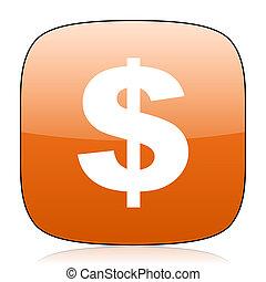 dollar orange square web design glossy icon