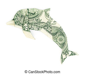Dollar origami dolphin isolated