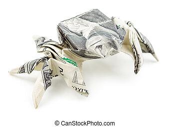 Dollar origami spider isolated on white background