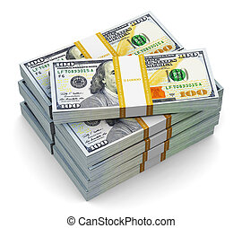 dollar, oss, sedlar, färsk, 100, buntar