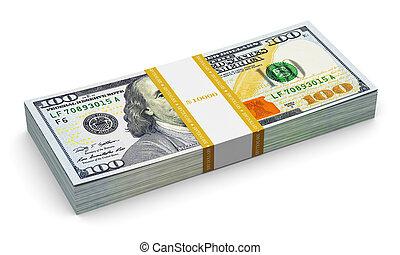 dollar, oss, sedlar, färsk, 100, stack