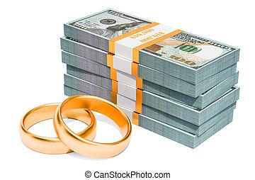 Dollar packs with wedding rings, 3D rendering