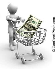 dollar, panier, homme, consommateur