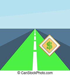 dollar, panneaux signalisations