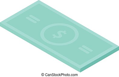 Dollar paper banknote icon, isometric style