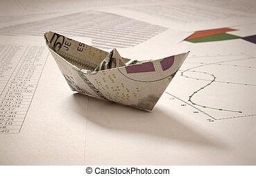 Dollar paper boat on financial data