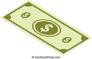 Dollar paper icon set, isometric style