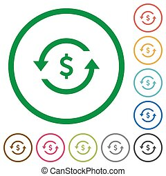 Dollar pay back flat icons with outlines - Dollar pay back...