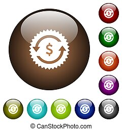 Dollar pay back guarantee sticker color glass buttons