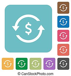 Dollar pay back rounded square flat icons