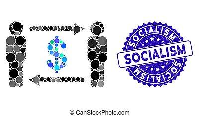 dollar, personnes, collage, icône, timbre, socialism, textured, échange