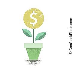 dollar, pflanze, in, der, pot., finanzielles wachstum, concept., vektor, illustration.