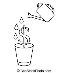 dollar, pflanze, in, der, topf, und, gießkanne, ikone