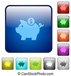 Dollar piggy bank color square buttons