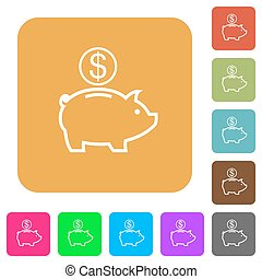 Dollar piggy bank rounded square flat icons