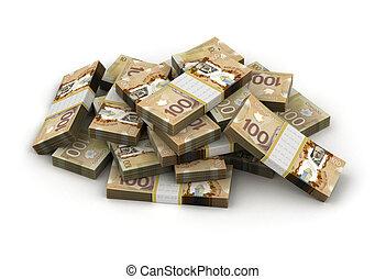 dollar, pile, canadien