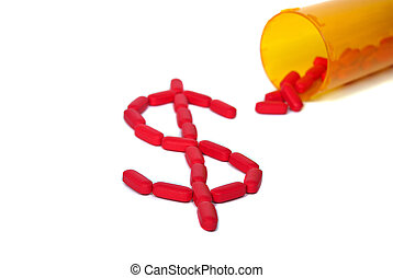 dollar, pilules, rouges, signe