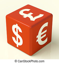 Dollar Pound And Euro Signs On Red Dice