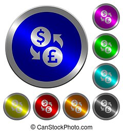Dollar Pound money exchange luminous coin-like round color buttons