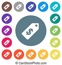Dollar price label flat white icons on round color backgrounds
