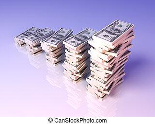 3D Illustration. Improving graph made of Dollar Bills.