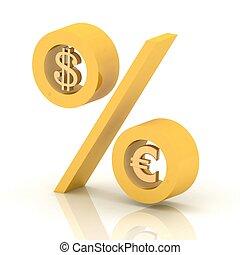 dollar, prozent, euro