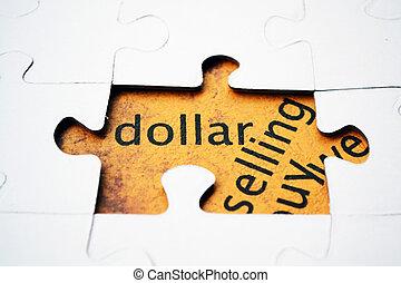 Dollar puzzle concept
