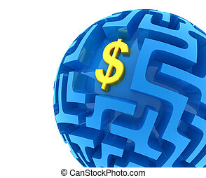 Dollar puzzle. Money Sphere Maze