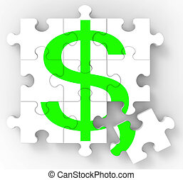 Dollar Puzzle Showing American Investments