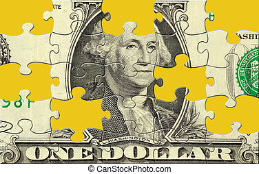 Dollar Puzzle With Missing Pieces. Clipping Path For Puzzle...