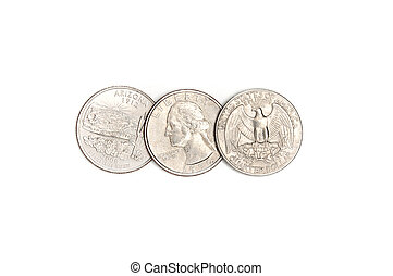 Dollar quarters coins on a white background.