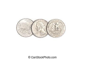 Dollar quarters coins. - Dollar quarters coins on a white ...