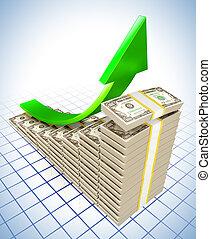 Dollar raising charts - 3d illustration of dollar raising ...