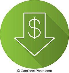Dollar rate falling flat linear long shadow icon