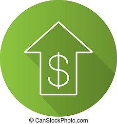 Dollar rate rising flat linear long shadow icon